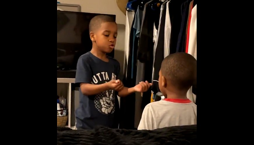 Six-Year-Old Calms Little Brother With Deep Breathing Exercise