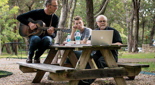Darden Smith (l.) works with Dustin Crites (c.) and Gary Nicholson in a SongwritingWith:Soldiers retreat in Belton, Texas